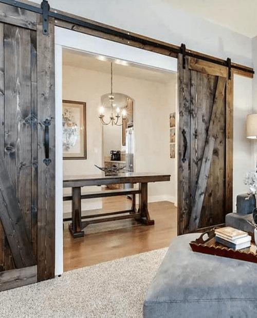juneau double barn door dining room lifestyle