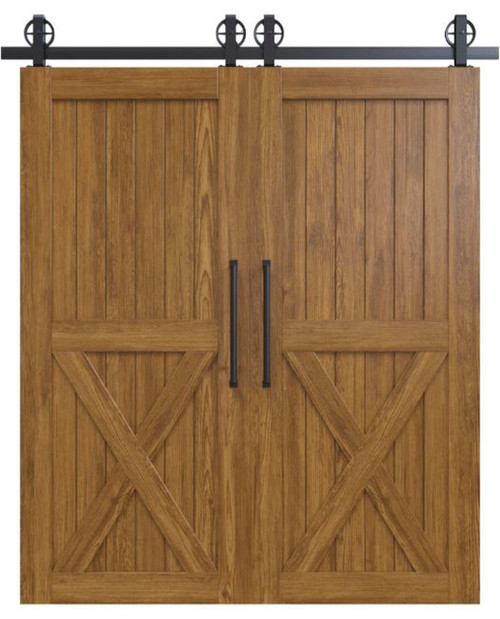 lake placid stained wood half x panel double barn door
