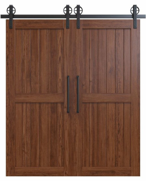 naples dark stained wood 2 panel double barn door