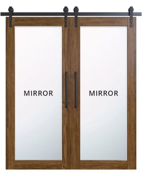 stained wood double barn door with full pane mirror