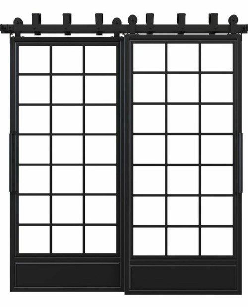 metal bottom panel square pane glass french bypass barn door