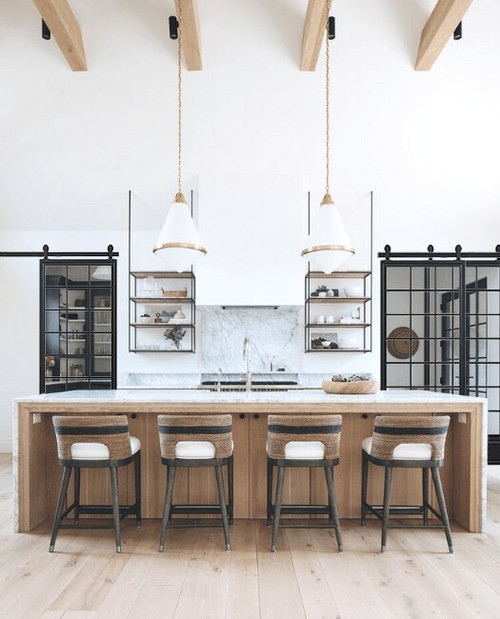 Bottom Panel French Barn Door Kitchen Lifestyle With Bypass
