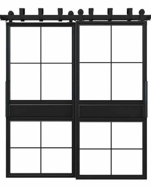 two panel square frame metal bypass barn doors
