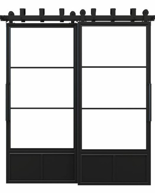 three panel metal bypass barn door