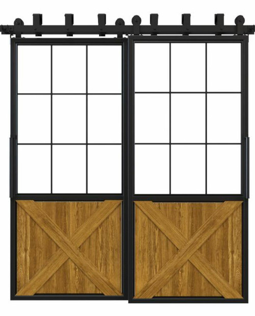 metal half square pane glass half x panel wood bypass barn door