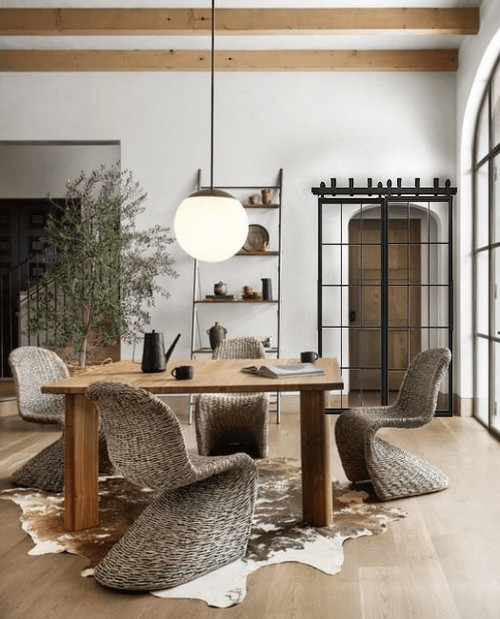 Window Pane French Bypass Barn Door Lifestyle Dining Room