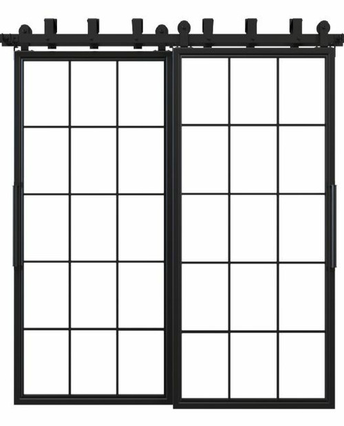 window pane french bypass barn door black