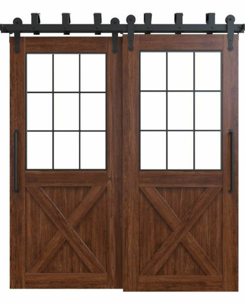 wood french double barn door with glass window