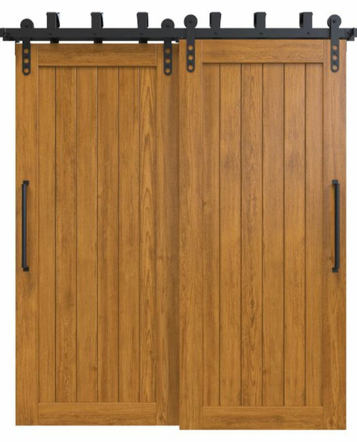 stained wood vertical full panel bypass barn door