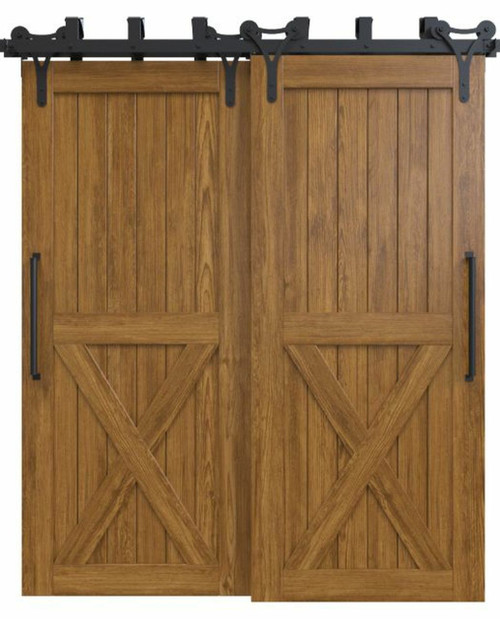 stained wood half x panel bypass barn door