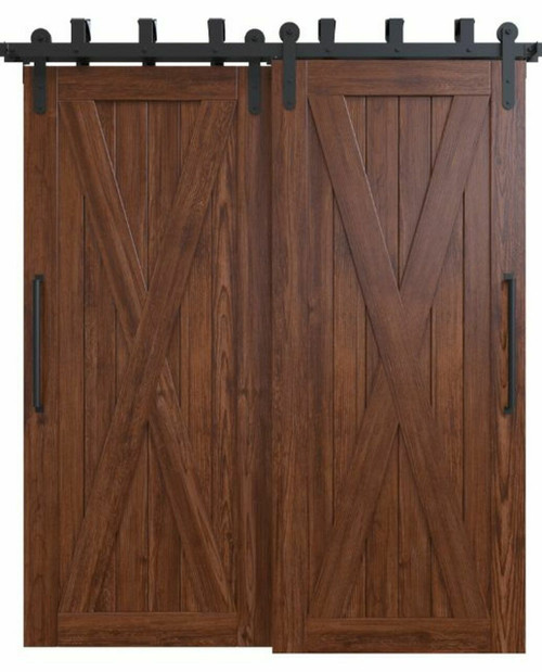 savannah stained wood bypass barn door with classic full x panel