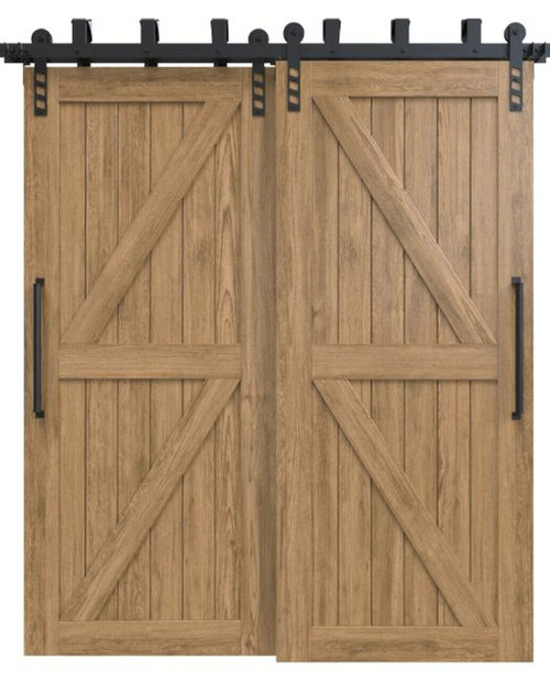 stowe stained wood double diagonal pattern bypass barn door