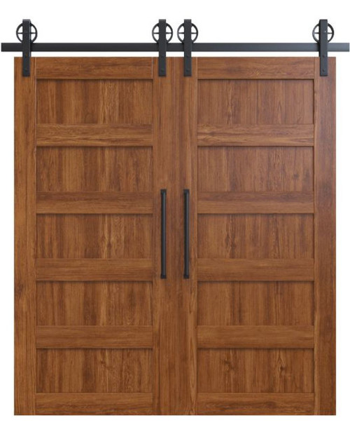 stained wood 5 panel double barn door