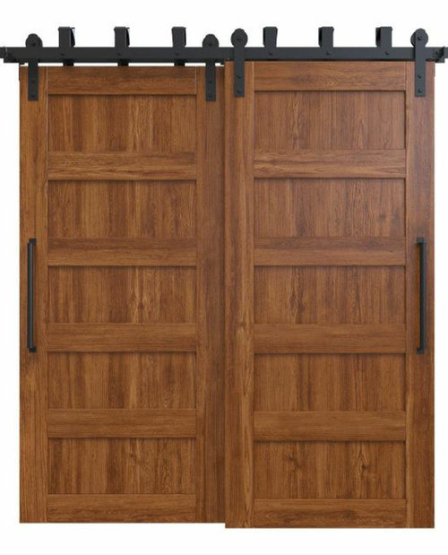 wood stained 5 panel bypass barn door