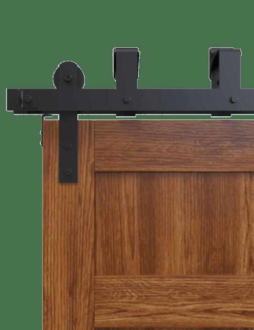 bypass black front strap barn door hardware