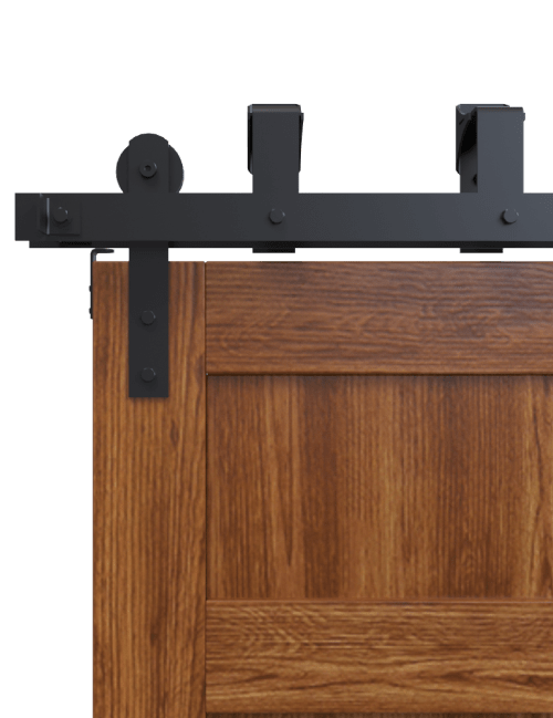 bypass black front strap barn door hardware