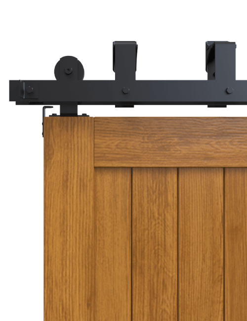 top mount bypass barn door hardware black finish