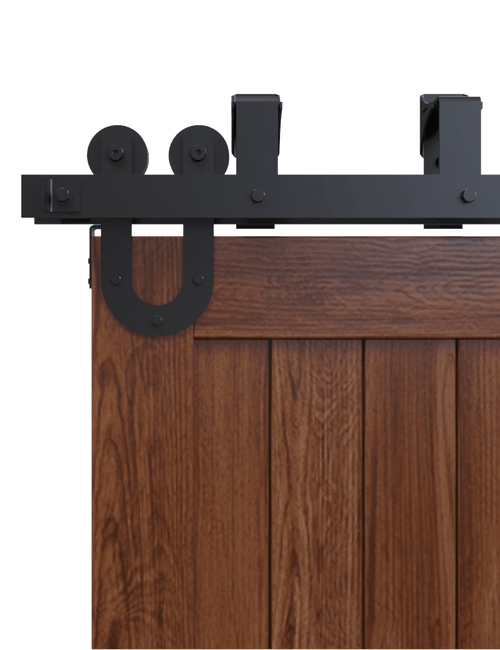 side view U Style strap bypass barn door hardware