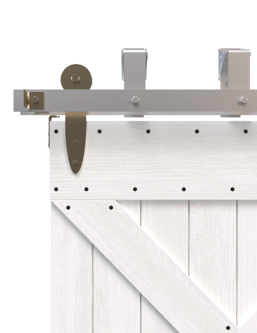 gold plated bypass barn door hardware with brushed steel track