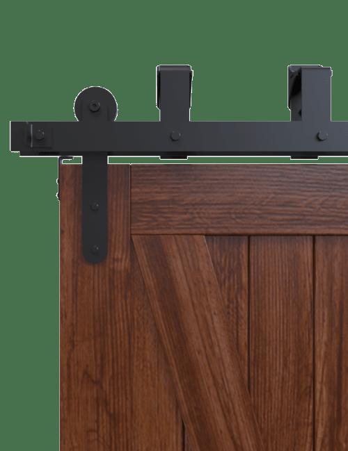 side view minimal modern bypass barn door hardware