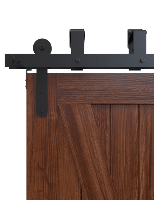 side view minimal modern bypass barn door hardware