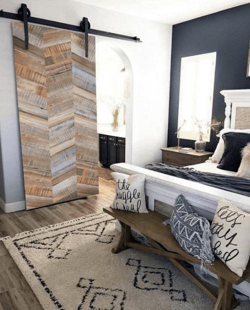 gray madison reclaimed barn door lifestyle - bedroom
