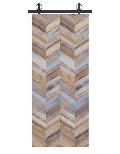 gray adams reclaimed wood quadruple vertical herringbone barn door