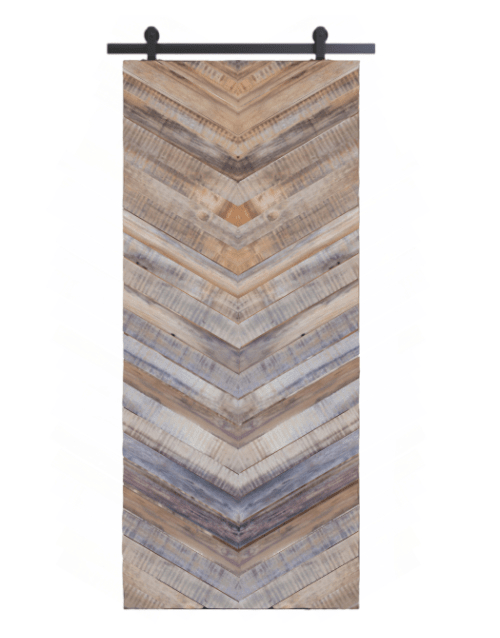 gray franklin reclaimed wood vertical herringbone barn door