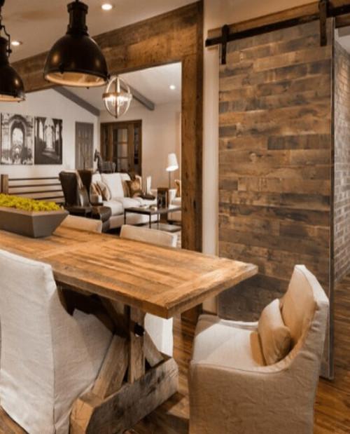 Hamilton Brown Reclaimed Sliding Barn Door Lifestyle Kitchen