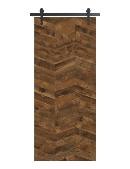 reclaimed wood brown triple vertical herringbone barn door