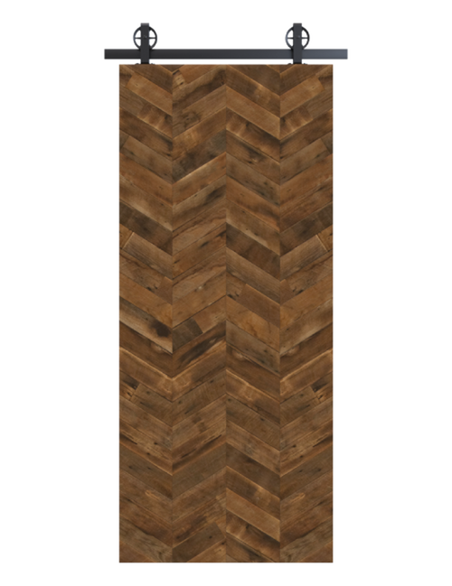 reclaimed wood brown vertical quadruple herringbone barn door