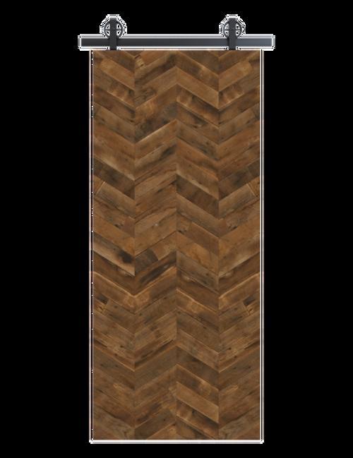 reclaimed wood brown vertical quadruple herringbone barn door