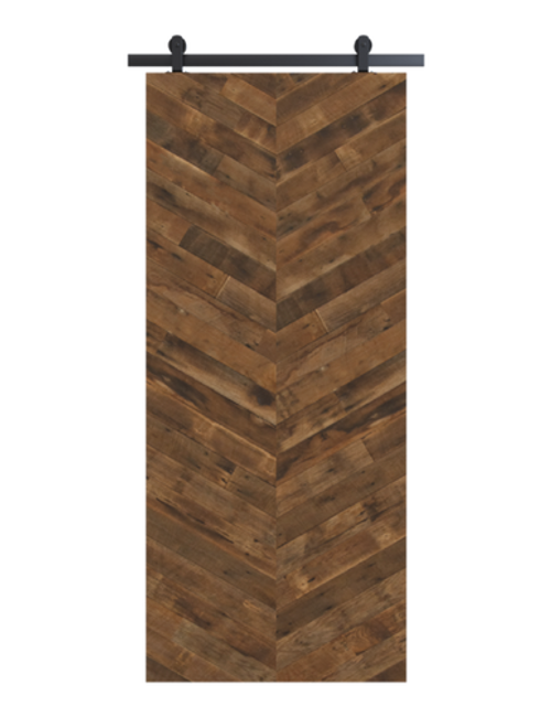 reclaimed wood brown vertical double herringbone barn door