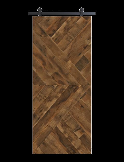 brown arrow design reclaimed wood barn door