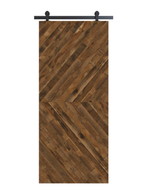 reclaimed wood brown horizontal double herringbone barn door