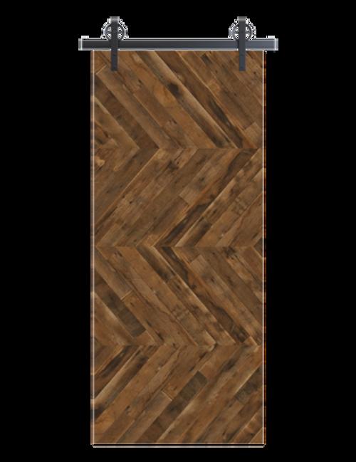 reclaimed wood brown horizontal quadruple herringbone barn door