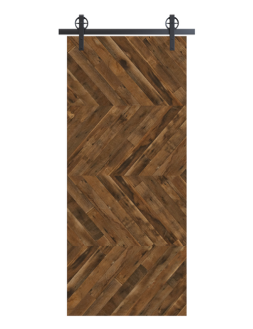 reclaimed wood brown horizontal quadruple herringbone barn door