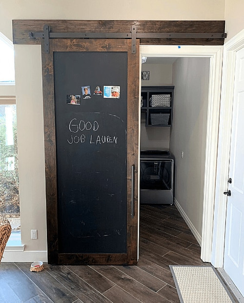 Chalkboard Magnetic Sliding Barn Door Laundry Room Lifestyle IMage