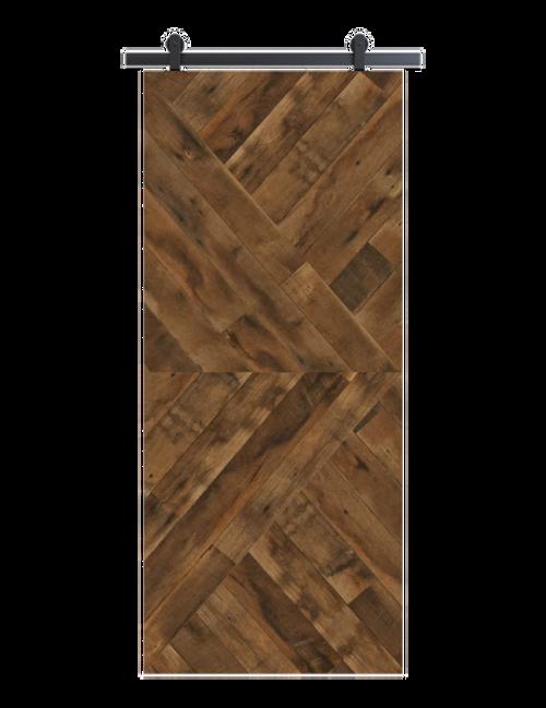 reclaimed wood brown arrow barn door