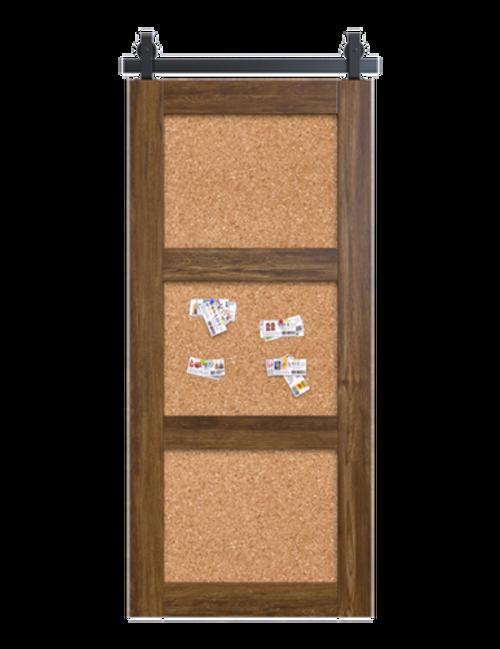 wood corkboard 3 panel barn door