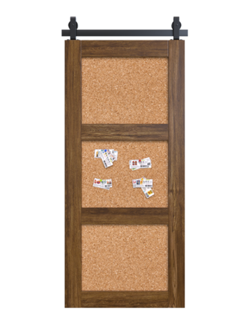 wood corkboard 3 panel barn door