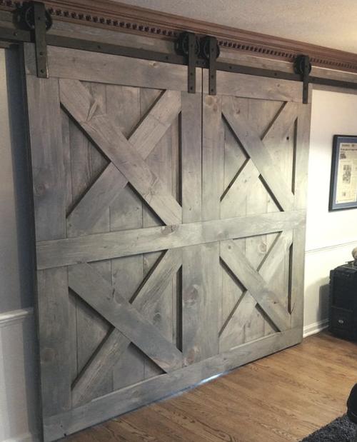Nantucket Double Barn Door in family room stained grey