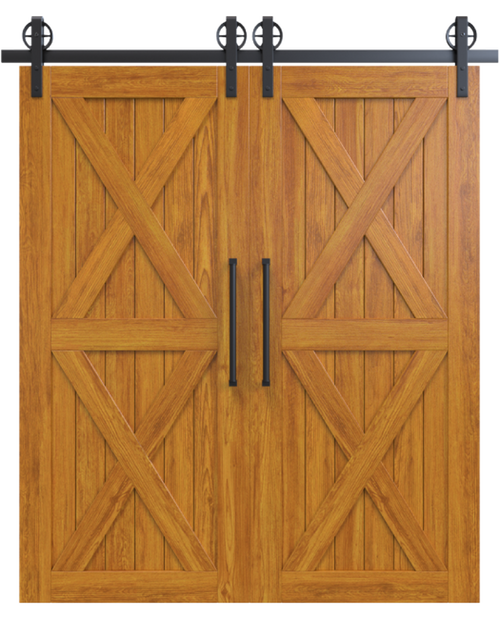 nantucket stained wood double barn door with double x panel