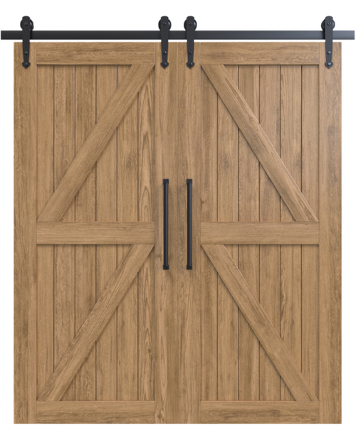 stowe stained wood double diagonal pattern double barn door