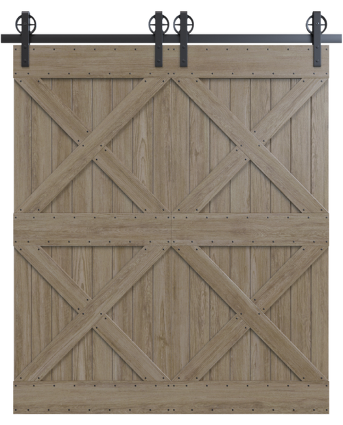 newport wood double barn door with double x board and batten design