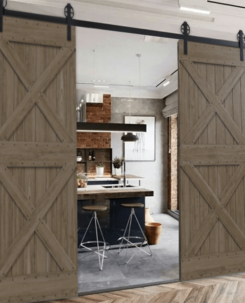Newport Double sliding wood barn doors to kitchen