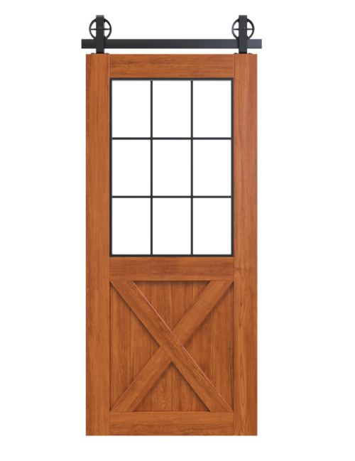stained wood barn door with half glass panel and half x panel