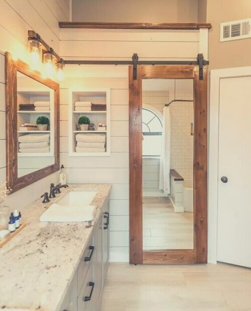 Aged Wood Bathroom Mirror Sliding Barn Door