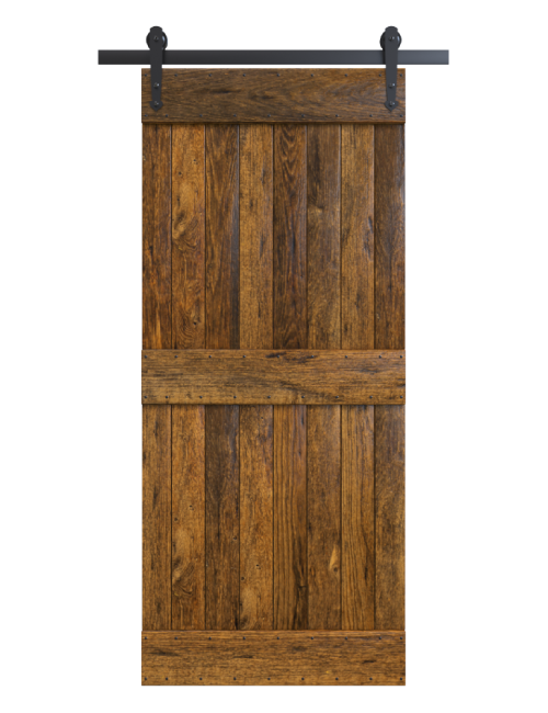 stained two panel rustic barn door