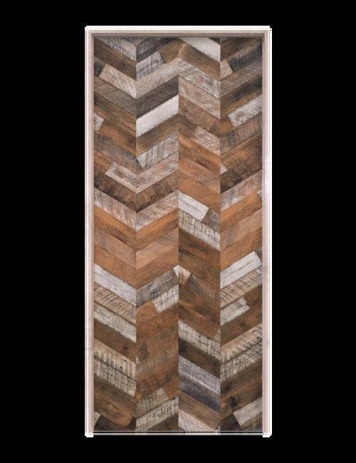 rustic wood chevron single barn door